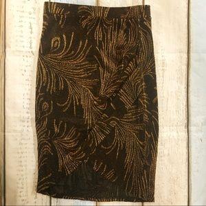 A'gaci Black & Gold Midi Skirt Size Small